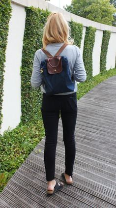 longchamp backpack outfit