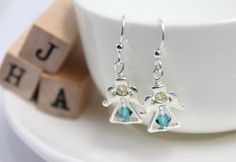 Christmas/Casual/Silver/Everyday Earrings - Swarovski Silver Angels by JigulinsHA on Etsy