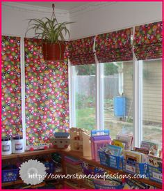 DIY Roman Shades.  The large window is 46x58 and the two smaller windows are 22.5x58.  Now I just need to find a pattern I want in my kitchen...