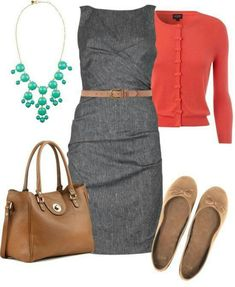 Gray sheath dress & red/coral sweater A great outfit for work! This dress is professional, yet modest. With a cardigan in a bright color and simple flats, this outfit is perfect for business casual! Fashion Mode, Work Fashion, Church Fashion, Fashion News, Mode Outfits, Fashion Outfits, Professional Attire, Business Professional, Work Attire