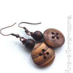 Wood Grain Earrings made with Vintage Buttons  - Chunky Jewelry by buttonsoupjewelry on Etsy