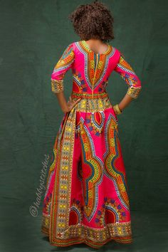 This beautiful dashiki dress is handmade with love African Print Dresses, African Dresses For Women, African Wear, African Attire, African Fashion Dresses, African Head Scarf, Agbada Styles, Dashiki Dress, Africa Fashion