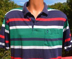 vintage 80s golf shirt polo PENGUIN stripe grand by skippyhaha, $15.00