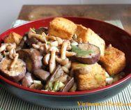 Vietnamese Food: Fried Tofu with Eggplant and Mushrooms (Đậu Phụ Xà. Vietnamese Salad Recipe, Easy Vietnamese Recipes, Vietnamese Cuisine, Chicken Leg Recipes, Veg Recipes, Salad Recipes, Vegetarian Recipes, Healthy Recipes, Chicken Legs