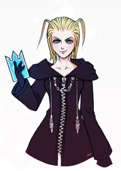 """chalkori: """" I wanted to draw her for a longer while, so there she is - probably the most hated Organization XIII member, Larxene~ Did I mention I love her almost as much as I love Axel? Seriously..."""