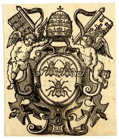 Coat of arms of Pope Urban VIII charged with three bees, crested with papal tiara and supported by putti and keys; after Peter Paul Rubens. 1634 Woodcut