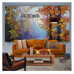 """and then it was october......"" by eyesondesign ❤ liked on Polyvore featuring interior, interiors, interior design, home, home decor, interior decorating, Dot & Bo, interiordesign, TastemastersDesignGroup and artscape"