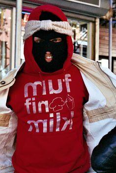 Masked up #style #fashion #muffinmilk #streetwear #NYC #red #hoodie #skimask #danger #hood