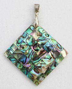 Polished Abalone Shell Mosaic Diamond-Shaped by LifeIsAGiftShop