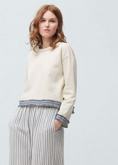 Contrast hem sweatshirt - Sweatshirts for Woman Gatsby, Ideias Fashion, Bell Sleeve Top, Turtle Neck, Sweatshirts, Blouse, Womens Fashion, Pretty, Sweaters