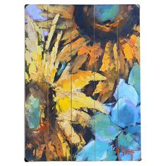 Perfect displayed in your living room or kitchen, this charming wood wall decor showcases a sunflowers motif.  Product: Wall dec...