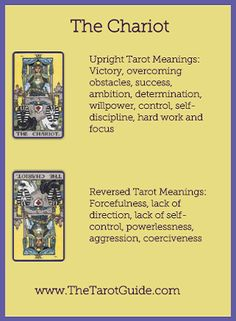 Tarot Flashcards - The Chariot Upright and Reversed Meanings…