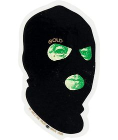 Easily add subtle street style to any smooth surface with a small Gold George Washington dollar bill face inside a black ski mask graphic.