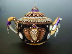 Midnight Tea a Beaded Tea Pot by HeidiKummliDesigns on Etsy