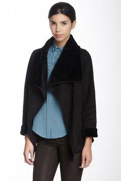 Hilary Radley Faux Fur Large Collar Belted Coat by Hilary Radley on @HauteLook