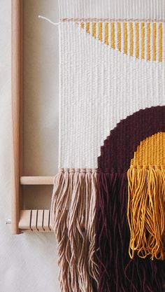 · Modern wall hangings · Woven & punchneedle pillows · by WINDSTOREtextiles Weaving Loom Diy, Weaving Art, Weaving Patterns, Hand Weaving, Stitch Patterns, Knitting Patterns, Weaving Wall Hanging, Hanging Wall Art, Rainbow Wall