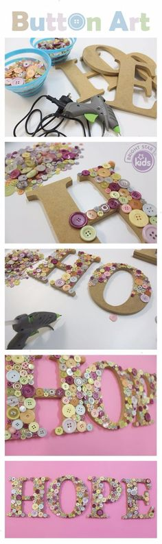 DIY Projects and Crafts Made With Buttons - Button Art - Easy and Quick Projects You Can Make With Buttons - Cool and Creative Crafts Sewing Ideas and Homemade Gifts for Women Teens Kids and Friends - Home Decor Fashion and Cheap Inexpensive Fun Things to Kids Crafts, New Crafts, Crafts For Teens, Creative Crafts, Crafts To Make, Easy Crafts, Sewing Crafts, Arts And Crafts, Sewing Ideas