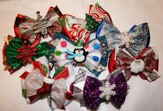 Mini Holiday Bowtique Bows by HodgePodgeBowtique on Etsy, $5.50