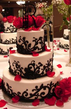Black  Red Wedding Cake with fresh roses