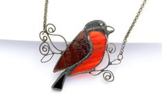 Stained glass bird necklace statement jewelry bullfinch bird pendant artistic necklace OAAK pendant red black brown sculpture jewelry funky by OrioleStudio on Etsy