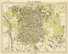 "Antique map - Vintage map - Archival map - Antique  Madrid  city map Print - 19 x 24 "". $35.00, via Etsy."