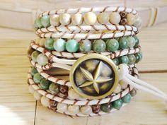 Sand and Sea Leather Wrap Bracelet on Etsy. Ack!