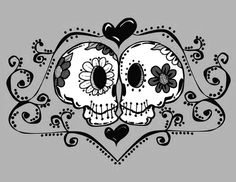 I Heart Skeletons. Day of the Dead - Dia de los Muertos Sugar Skull Love Print Mexican Skulls, Mexican Folk Art, Los Muertos Tattoo, Sugar Skull Art, Sugar Skulls, Day Of The Dead Skull, Arte Popular, Skull And Bones, Illustrations