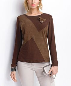 Look what I found on #zulily! Brown Embellished Color Block Top #zulilyfinds