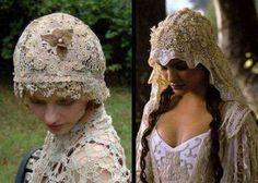 The crochet wedding veil (left) to match the Star Wars wedding veil of Padme Amidala.   Both are so beautiful!