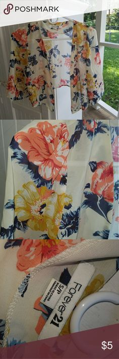 Floral cropped cardigan kimono size small Great condition! Cropped kimono/shrug/cardigan. Minor threading at the bottom, very bright hues perfect for spring or summer. Comes from a smoke-free home (: Forever 21 Tops