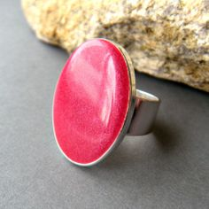 Hot Pink Oval Statement Ring, Resin, Adjustable, Hot Pink Cocktail Ring