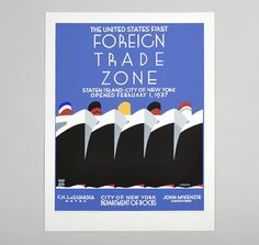 "1937 ""Foreign Trade Zone"" Reproduction Hand-Printed Poster"