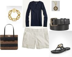 j.crew outfit with kate spade bag & tory burch accessories
