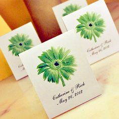 Isn't Gerber Daisies Julianna's favourite flower -- cute idea for a wedding guest gift -Gerber Daisy Wedding Favors