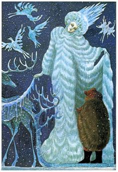 Errol Le Cain illustration from the book 'The Snow Queen'