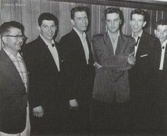 """Elvis & The Four Coins.  July 17, 1956 in Biloxi. The Four Coins covered Elvis' song """"First In Line.""""  The older man on the left in the picture is Gus Stevens."""
