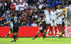 Bale sends his free kick over England's three-man wall and into the net to give Wales the lead against the run of play