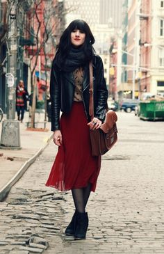 Fall feels in flowy burgundy skirt, leather moto jacket, wrap scarf, wedge boots, and satchel.