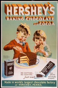 40 Vintage (Retro) Advertisements for Inspiration hershey's advertisement I have a Recipe Book with same boy and girl with out Cocoa box or Baking chocolate on it and it is dated Karen Retro Vintage, Retro Ads, Vintage Labels, Vintage Signs, Vintage Prints, Vintage Food, Vintage Stuff, Vintage Cooking, 1950s Ads