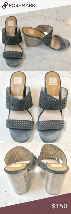 "Dolce Vita Esmeralda Grey Sandals SZ 40 US… Dolce Vita Esme Perforated grey Leather slip on sandals   Size 40 US 10 Heel: 4"" Color: Gray Dolce Vita Shoes Sandals"