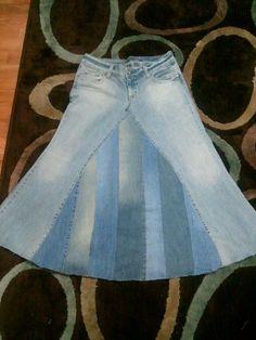 Panneled jean skirt by ModestyByAutumn on Etsy, $40.00