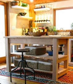 Kitchen, Minimalist Kitchen Island For Creative Farmhouse Kitchen Ideas With Tribal Rug: Small Kitchen Island Designs for Farmhouse Kitchen Ideas