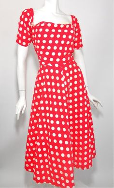 1950s red polka dot dress with removeable sleeves, Dorothea's Closet Vintage archives