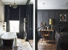 Wood table with the chair and brass lamp along with the wood floors cozy this space up | Black Walls