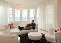 You could have a circular traverse rod ceiling mounted that for a drapery that would go in front of all the turret windows? Living Room White, Living Room Windows, Living Room Sofa, Small Living, Window Furniture, Living Furniture, Zeppelin, Modern Study Rooms, Study Room Design