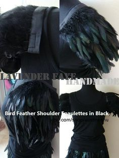 Couture Black Feather Shoulder Attachable by LavederFaye on Etsy,