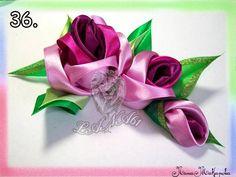 розы и листики из ленты