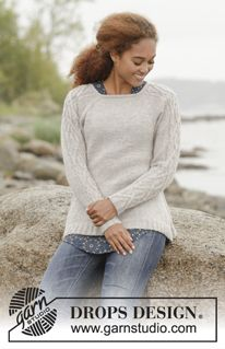 """Irish Plaits - Knitted DROPS jumper with cables on sleeves, worked top down in """"Merino Extra Fine"""". Size: S - XXXL. - Free pattern by DROPS Design Knitting Stitches, Knitting Patterns Free, Knit Patterns, Free Knitting, Free Pattern, Drops Design, Pull Crochet, Knit Crochet, Drops Patterns"""