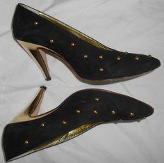 ESCADA Vintage High Heels Shoes Black Suede Leather Gold Studs 7 37 B HapaChico #ESCADA #Heels