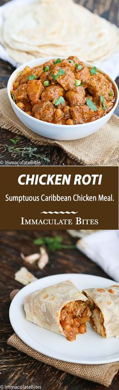 Trinidad Chicken Roti: an incredible chicken meal that would excite your taste buds - rich in spices, chickpeas and potato. Carribean Food, Caribbean Recipes, Caribbean Chicken, Chapati, Tandori Chicken, Breaded Chicken, Trinidad Recipes, Trinidad Roti, Trini Food